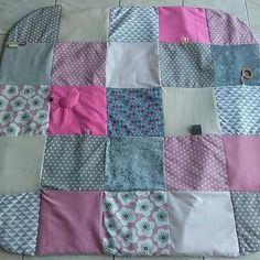 Tapis d'eveil 125x125 montessori inspiration - gris et rose - cadeau naissance - bebe - tapis de parc