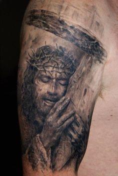 Robert Litcan Em 20 Tatuagens De Realismo Preto e Cinza Magníficos Jesus Tattoo Sleeve, Best Sleeve Tattoos, Life Tattoos, Body Art Tattoos, Hand Tattoos, Small Tattoos, Tatoos, Future Tattoos, Tattoos For Guys