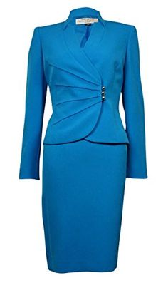 Tahari by ASL Ginny 2pc Jacket  Skirt Suit Ocean Blue 18W * You can find out more details at the link of the image.