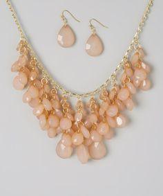 Beige Teardrop Stone Necklace & Earrings