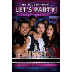 Time to send out the awesome invites for a rocking Saturday night! Birthday Gift Cards, It's Your Birthday, Yash Raj Films, Bollywood, Invitations, Let It Be, Saturday Night, Party, York