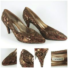 """*vintage* beaded sequin heel absolutely stunning beaded and sequin heel, worn maybe 2 or 3x?! Brand: Caparros. Size: unknown, fits around 7 (L:10"""" W:3"""" H:3"""") Caparros Shoes Heels"""