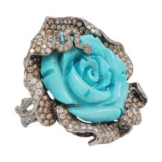WENDY YUE Carved Turquoise Flower Ring ($12,805) ❤ liked on Polyvore featuring jewelry, rings, blkgold, flower jewellery, 18k ring, snake jewelry, turquoise ring and turquoise flower ring
