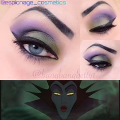 Wearable Maleficent inspired eye makeup! Maleficent, makeup, eye, shadow, liner, green, purple, disney,