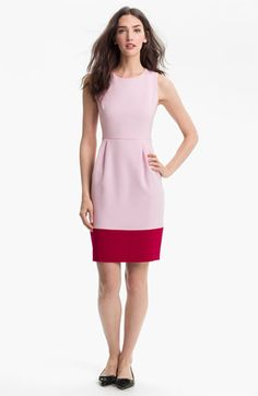 """$125.00 A blushing stretch-knit fabrication softens a crisply tailored sheath dress detailed with pleats and a pop of crimson.  Approx. length from shoulder to hem: 39"""". Measurements taken from size 8 and may vary slightly by size. Exposed back-zip closure. Optional belt included. Polyester/viscose/elastane; dry clean. By kate spade new york; imported. Fully lined. Individualist."""