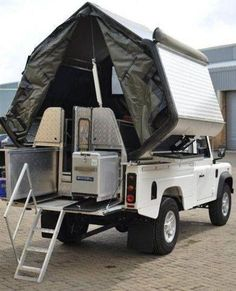 Land Rover Defender 110 pick up dormobile convert. This is my all time favourite car! Landrover Defender, Landrover Camper, Defender Camper, Land Rover Defender 110, Off Road Camping, Truck Camping, Ute Camping, Camping Guide, Camping Stuff