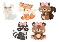 Baby Animal Drawings, Art Drawings For Kids, Woodland Creatures, Woodland Animals, Baby Animals, Cute Animals, Baby Posters, Baby Art, Woodland Party