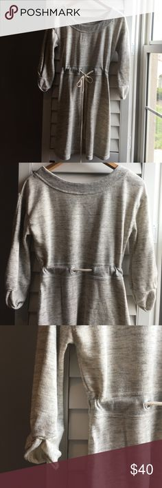 """Anthropologie 3/4 sleeve sweatshirt dress Size S Super comfy heathered sweatshirt material dress with 3/4 sleeves and tie waist. Pretty detail at cuffs. 33"""" long, 18"""" pit to pit. By Saturday Sunday. VGUC Anthropologie Dresses"""