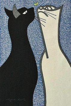 stilllifequickheart:  Kiyoshi Saito Two Cats 20th century