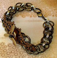 Steampunk Propeller Brass Chain Maille Bracelet by marokel on Etsy, $17.00