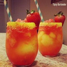 PARADISE BREEZE Pineapple Vodka Frozen Pineapple Chunks Splash Simple Syrup Segrams Fuzzy Navel Blend- In a glass- Add splash of Grenadine Add Blended ingredients Top with Grenadine