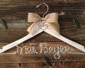 Rustic Wedding Hanger / Brides Hanger / Bridal Hanger / Burned Wedding Date / Vintage Wedding / Rustic Hanger / Personalized Hanger. $32.00, via Etsy.