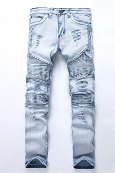 Fashion Men's Blue Ripped jeans Denim Pants Knee Hole Motorcycle Biker Jeans Slim Skinny Destroyed Torn Denim Trousers For Men . Product ID: Jeans Moto, Ripped Biker Jeans, Motorcycle Jeans, Denim Pants, Men's Denim, Blue Denim, Washed Denim, Men's Jeans, Patch Jeans