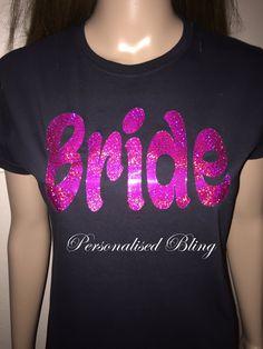 bride t-shirt  bridesmaid t shirt  hen party top t shirt black sparkle vinly Bachelorette party t shirt top party top tshirt t-shirt by personaliseddiamante on Etsy
