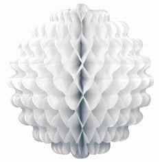 Boule festonnée à suspendre Ø 30 cm - blanc