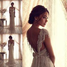 New Luxury Custom Cap Sleeve Beaded Lace Long Bridal Gowns Wedding Dresses 2014