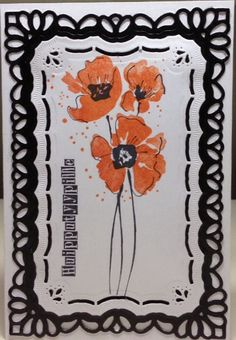 handmade card; Huipputyypille by minna0402 ... impressionistic red poppies on a…