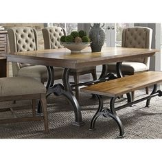 Liberty Furniture Arlington House Dining Trestle Table, x x Cobblestone Brown Dining Table With Bench, Trestle Dining Tables, Dining Table In Kitchen, Table And Chairs, Table Legs, Side Chairs, Dining Area, Patio Tables, Diy Table