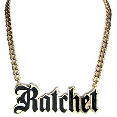 "Women Fashion Trendy Hip Inspired Gold Black ""RATCHET"" Pendant... ($11) ❤ liked on Polyvore featuring jewelry, necklaces, accessories, black and gold necklace, black and gold jewelry, black gold jewellery, pendant necklaces and black gold necklace"