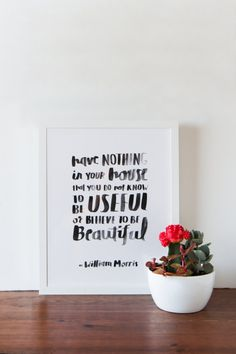 William Morris Quote Art Print by APairOfPears on Etsy