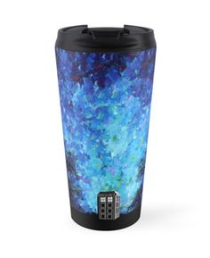 Lonely time travel phone box art painting Travel Mugs #mugs #travelmugs #artdesign #painting #tardis #phonebox #lonely #starrynight #painting
