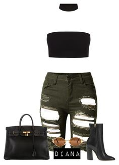 """""""Без названия #964"""" by diana-329 ❤ liked on Polyvore featuring Topshop, Hermès and Gucci"""