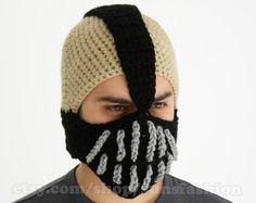 Bane Mask Batman Crochet Beanie Hat Slouch Mens by sunsfashion, $49.00