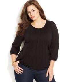 6d17c926 MICHAEL Michael Kors Plus Size Blouson Top & Reviews - Tops - Plus Sizes -  Macy's