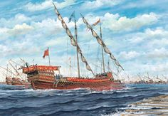 """Lepanto, The Holy League and Turkish battle lines close"", Tony Bryan Battle Of Lepanto, Turkish Soldiers, Vintage Boats, Naval History, Remo, Wooden Ship, Nautical Art, Armada, Historical Architecture"