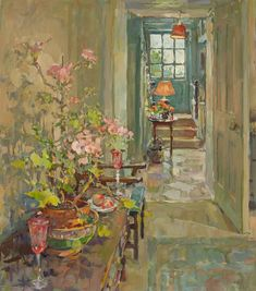 Susan Ryder RP NEAC (b.1944) — Geranium and Staircase (728x826)