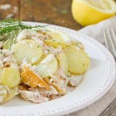 Potato salad with smoked trout and special sauce