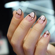 Minimal Negative space nail art. Shop our nail range here > http://bit.ly/1NIeUXp