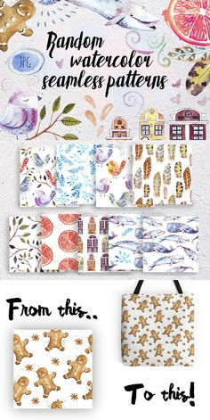 Watercolor seamless patterns set. Christmas Patterns. $7.00