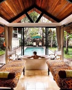 "All villas at the Plataran, which means ""God's favorite courtyard,"" Borobudur come with their own idyllic pool. This particular villa also… Gazebo, Pergola, Diy Projects Cans, Destinations, Borobudur, Valentines Day Gifts For Her, Best Resorts, Beautiful Hotels, Christmas And New Year"