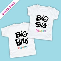 Sneak Peek at Our New Big Sister Shirts and Big Brother Shirts