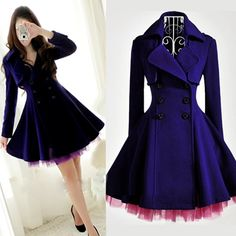 Fashion V Neck Long Sleeves double-breasted Blue Wool Overcoat