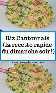 Riz Cantonnais (la recette rapide du dimanche soir!) No Salt Recipes, Quick Recipes, Omelette Bar, Mini Burgers, Brookies, Cordon Bleu, Dim Sum, Party Snacks, Chorizo