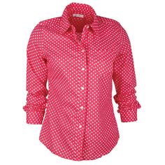 Button-down Polka Dot Shirt in Pink-Multi ($26) ❤ liked on Polyvore featuring tops, shirts, blouses, shirts & blouses, print button down shirt, dot print shirt, pink top, polka dot top and pink button up shirt
