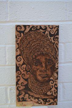 Tribal Art  Portrait Wood Burning  African by NirgunaFurnishings, £37.99