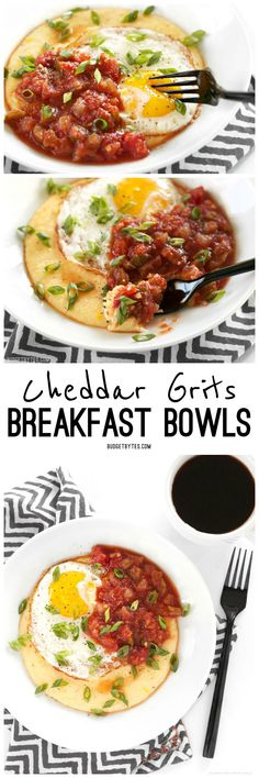 Cheddar Grits Breakfast Bowls are an easy but indulgent breakfast or brunch treat that you can whip up in no time. @budgetbytes