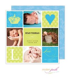 Posh Modern Birth Announcement Photo Cards with crown for the little prince and 4 photos From Little Angel Announcements