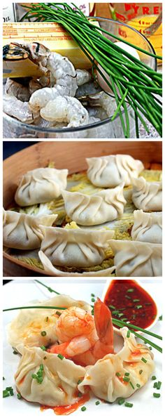 Ming Tsai's Extra Buttery Shrimp Dumplings. SO easy - 4 ingredients into the food processor, then fill dumpling wrappers and steam! No pre-cooking! These are the lightest, fluffiest steamed dumplings you'll ever have!