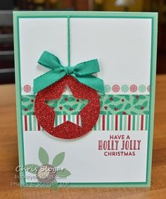 Holly Jolly Ornament made with Stampin' Up! Presents & Pinecones Washi Tape, Red Glimmer Paper and Stitched with Love stamp set