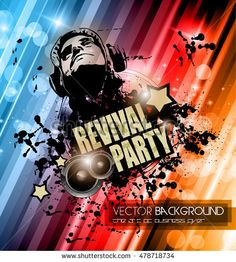 Club Disco Flyer Template With Music Elements  Colorful Scalable