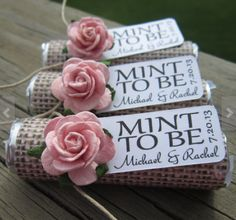 "Quirky and funny wedding favors. ""Mint to be"""