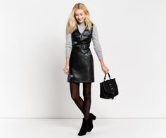 Oasis, FOREST FAUX LEATHER DRESS Black