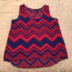 Bold Chevron Print Hi Lo Top Rich red and blue chevron print hi lo top. NO TRADES Tops Blouses