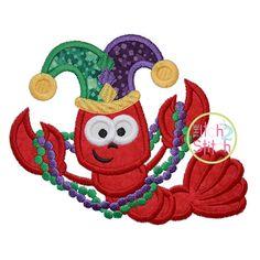 Crawfish Mardi Gras Applique Design For Machine by TheItch2Stitch