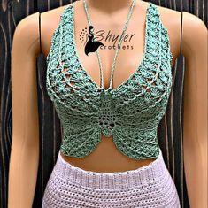 Crochet Bra, Crochet Motifs, Quick Crochet, Crochet Crop Top, Crochet Cardigan, Crochet Clothes, Crochet Tops, Crochet Mittens Free Pattern, Crochet Dolls Free Patterns