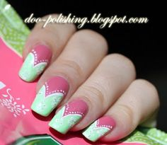 green and pink nails